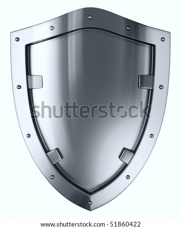 Silver shield. - stock photo