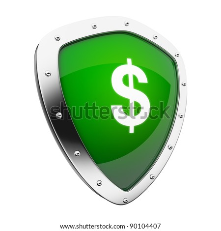 Silver shield with a money/dollar sign on green background.