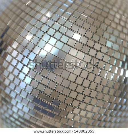 Silver Shining Disco Ball Background - stock photo