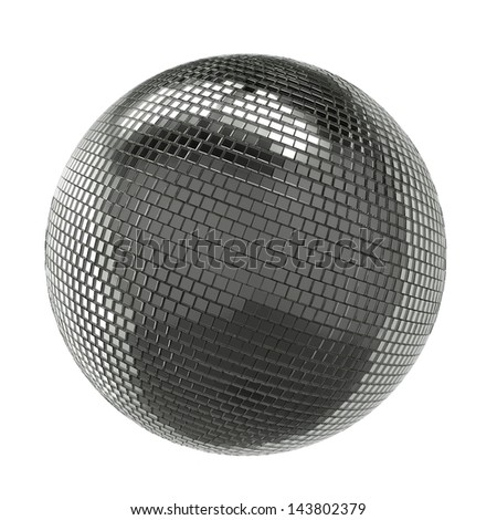 Silver Shining Disco Ball Isolated On White Background - stock photo
