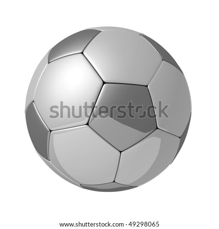 Silver shiny football with reflection isolated 3d illustration