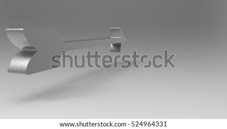 Silver Shiny Metallic 3D Illustration Of An Arrow On A Light Masked Transparent Background