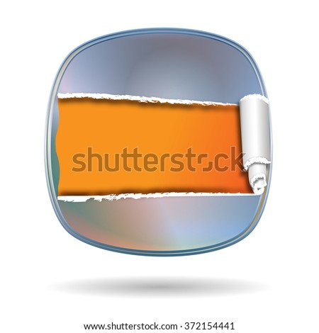 silver shiny shield with opening and free space inside - stock photo