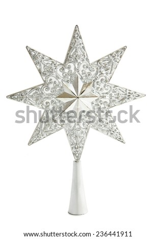 Silver shiny star isolated over white - stock photo