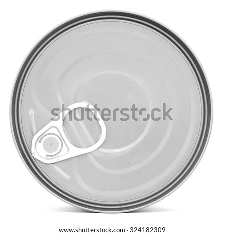 Silver shiny top of food can with pull-ring, isolated - stock photo