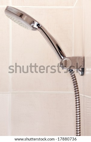 silver showerhead - stock photo