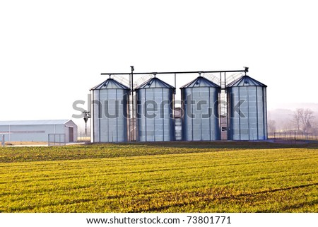 silver silos in the field