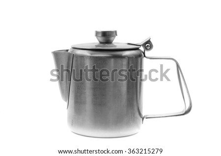 Silver simple coffee percolator isolated on white background.