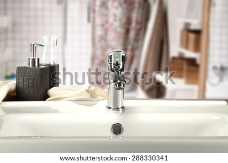 silver sink  - stock photo
