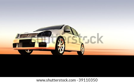 Silver small hatchback car / sportscar at sunset / sunrise with copy space - stock photo