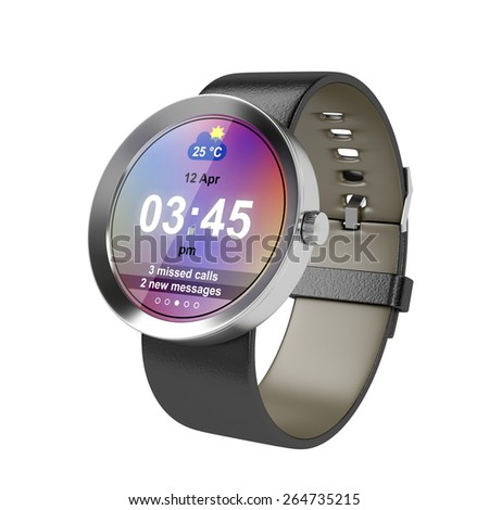 Silver smart watch with leather strap on white background - stock photo