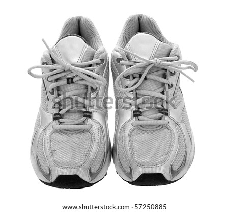 Silver sneakers isolated on the white background - stock photo