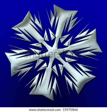 silver snowflake illustration over blue background