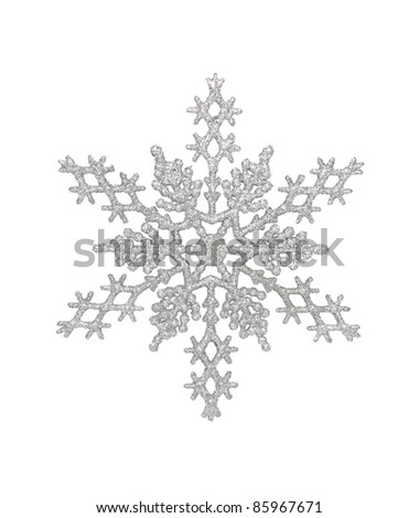 Silver snowflake, isolated w/clipping path - stock photo