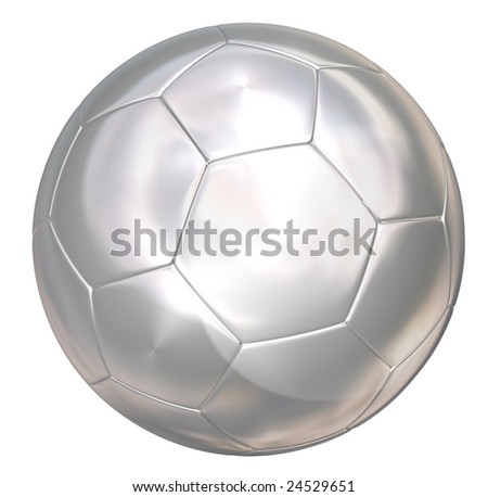 silver soccer ball on white separated path included - stock photo