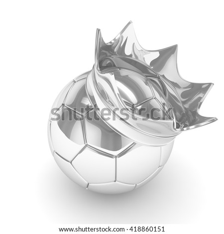 Silver soccer ball with silver crown on white background. 3D rendering. - stock photo