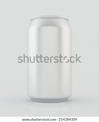 Silver soda cans with reflection on white background. - stock photo