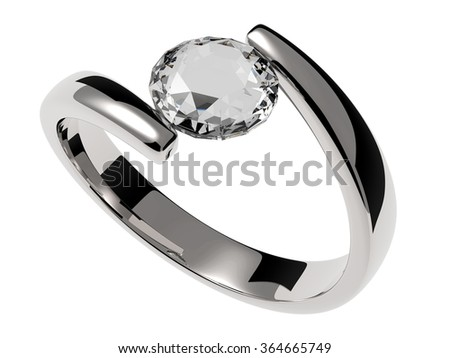 Silver solitaire ring with diamond stone - stock photo
