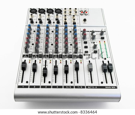 Silver sound mixer for audio recording on white background. - stock photo