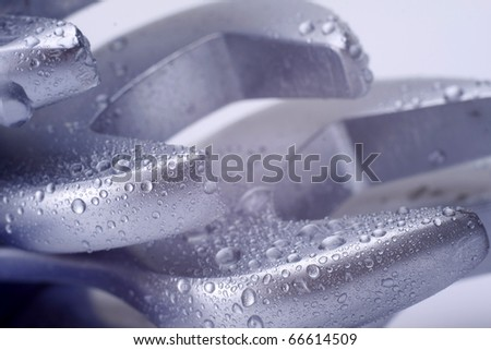 silver spanners isolated with clipping path - stock photo