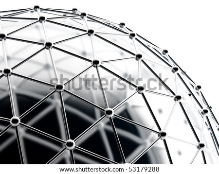 silver spheres connected with tubes in a round abstraction - stock photo