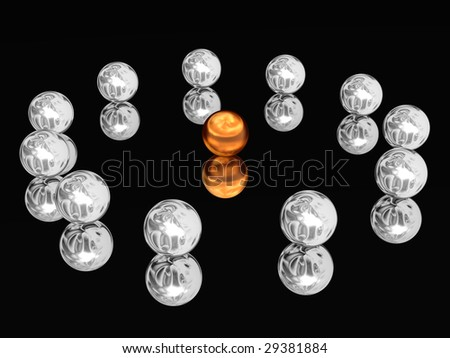 Silver spheres laid out on a circle on the glass.