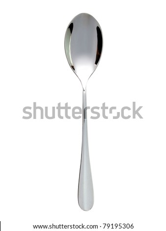 Silver spoon on white background - stock photo