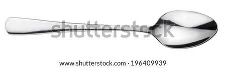 Silver spoon over white. File contains clipping path. - stock photo