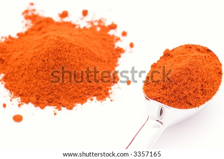 Silver spoon with an orange powder