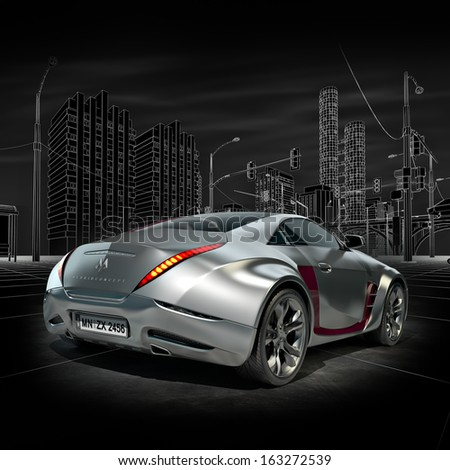 Silver sports car - stock photo