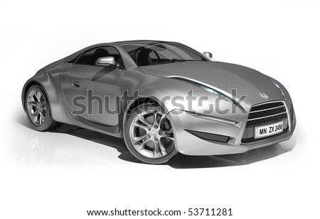 Silver sports car isolated on white background. My own car design. Logo on the car is fictitious. - stock photo