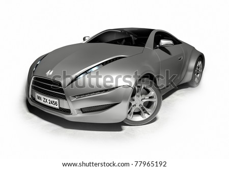 Silver sports car. Original car design. Logo is a fake.