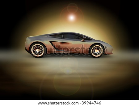 Silver sports car - sunrise / sunset moody studio shot