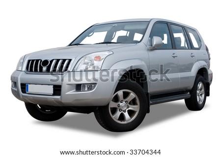 Silver Sports Utility Vehicle Isolated on White - stock photo
