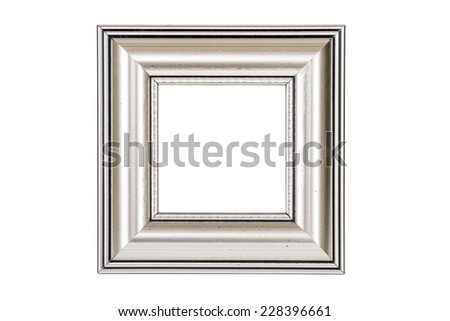 Silver square picture frame isolated on white background with clipping path. - stock photo