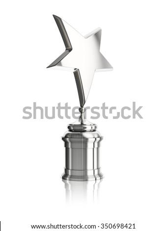 silver star award on stand isolated on a white background - stock photo