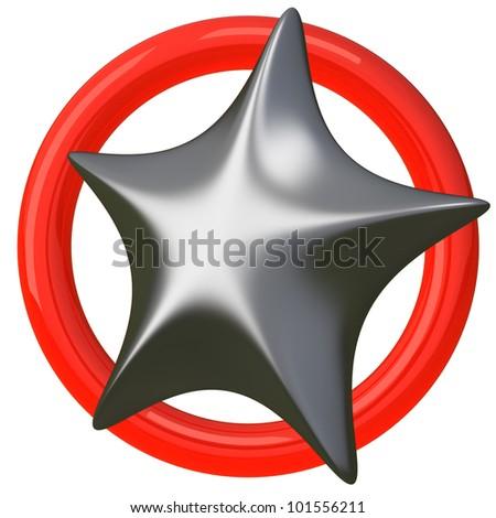 Silver star icon 3d - stock photo