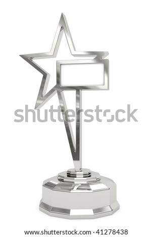 Silver star prize on pedestal with blank white plate isolated on white. High resolution 3D image - stock photo