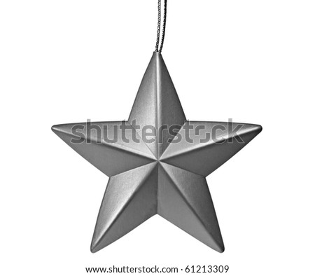 silver star shaped christmas ornament isolated on white - stock photo