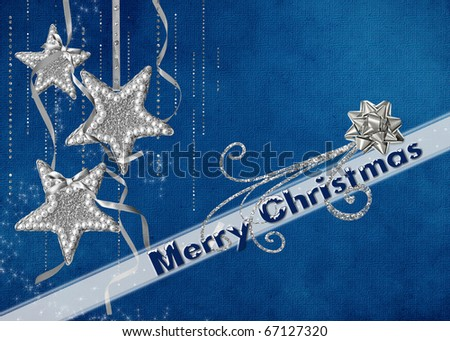 silver stars an diamonds with holiday greeting - stock photo