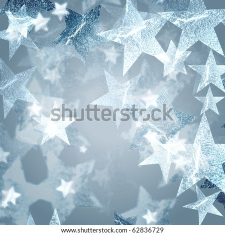 silver stars over grey background with feather center - stock photo
