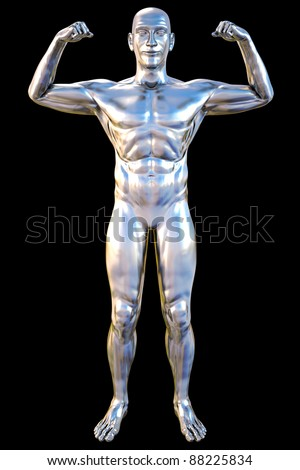 silver statue of athlete. isolated on black. - stock photo