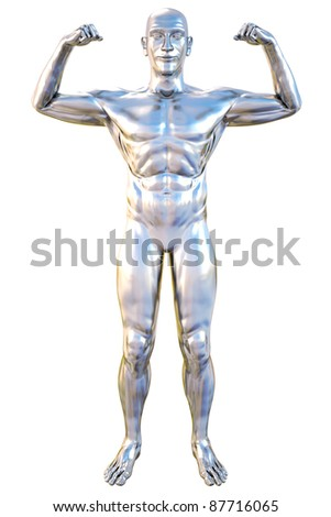 silver statue of athlete. isolated on white. - stock photo