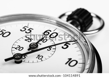 silver stopwatch closeup 5 sec isolated on white - stock photo