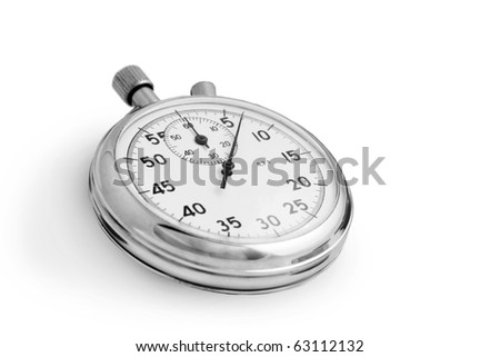 Silver stopwatch isolated on white background - stock photo