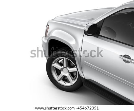 Silver suv car - cropped shot (3D render) - stock photo