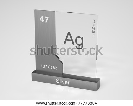 Silver - symbol Ag - chemical element of the periodic table - stock photo