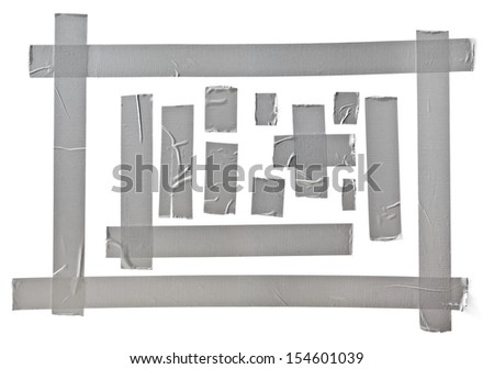 silver tape set, CLIPPING PATH included - stock photo