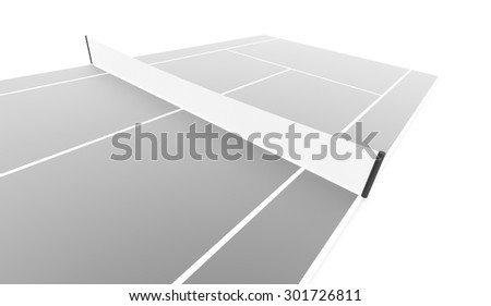 Silver tennis court rendered isolated on white background