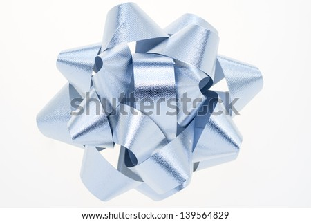 Silver textured bow isolated on a white background. - stock photo